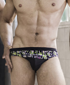 Our Sportive Swim Briefs With Brazil Strip Print  And Black Band. Made From a Mix of Poliamide and Lycra. Great Sexy Cut. Perfect Adjustment. Fit to Your Body Perfectly Thanks to Our Special Cut and Shape.