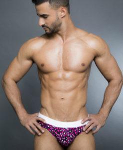 Egick Men Swimwear - Wide Black Candy Spots With White Band