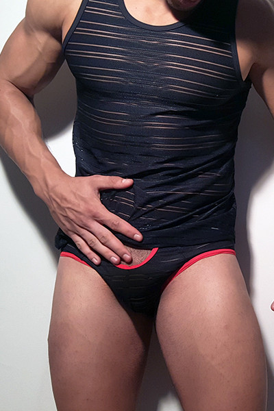 Egick Sportive Sexy Sheer Jocks Made From Comfortable Strech Lycra And Matching Top With Great Sexy Shape. Perfect Adjustment. Jocks Open From The Front And In The Back Fit to Your Body Perfectly. Thanks to Our Special Cut and Shape You Will Always Feel Amazing, Sexy And Sensual.