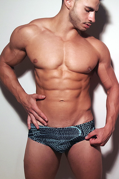 Classic Wide Briefs Swimwear, Swimsuit With Great Green Print Inspired By Spiderman For Summer At The Pool and Beach.