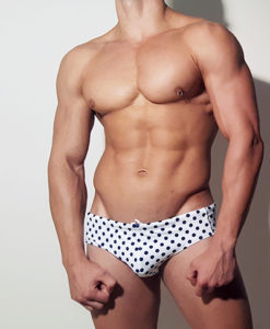 Wide Briefs Swimwear, Swimsuit With Great Blue Dots On White Background Print For Summer At The Pool and Beach.